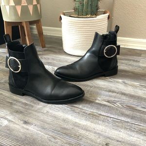 Zara Trafaluc Flat Ankle Boots With Buckle size 8